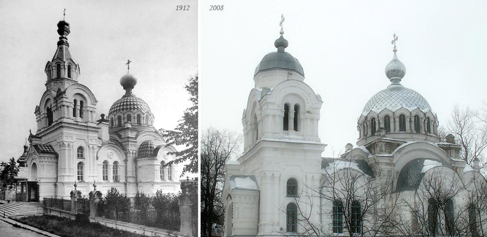Воскресенская церковь с. Бонячек (1912) - Свято-Воскресенская (Белая) церковь г. Вичуги (2008)